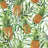 Tropisk modell för vattenfärg med saftig ananas Hand målad tropisk frukt med palmblad som isoleras på vit stock illustrationer