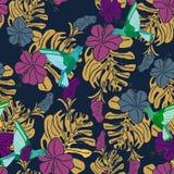 Tropisk modell med kolibrier, palmblad och hibiskusblommor royaltyfri illustrationer