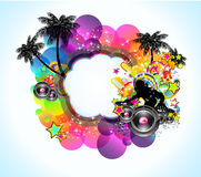 tropisk musik för reklamblad för bakgrundsdiskohändelse Royaltyfria Bilder