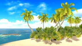 Tropisk paradisstrand vektor illustrationer