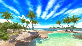 Tropisk paradisstrand stock illustrationer