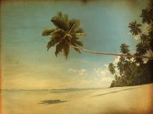 Tropisk paradisstrand i tappningstil Arkivbilder