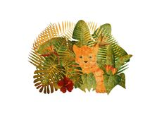 Tropisk Rainforestdjungel Tiger Cub Grunge Illustration Arkivbilder