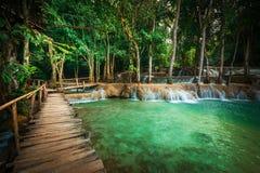Tropisk regnskog med den Kuang Si kaskadvattenfallet laos luangprabang Arkivfoto