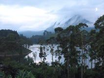 Tropisk regnskog och sjö i baksidajordningen av det molniga berget Arkivbilder
