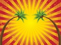tropisk retro solnedgång Royaltyfri Illustrationer