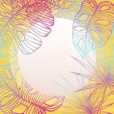 Tropisk rund ram, kopia-Spa? e med konturer av sidor av tropiska växter, monsteradeliciosa vektor illustrationer