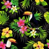 Tropisk sömlös bakgrund för för fågeltukan och palmblad vektor stock illustrationer