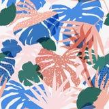 Tropisk sömlös härlig konstnärlig färgrik kontur för vektor vektor illustrationer