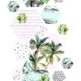 Tropisk sömlös modell för abstrakt vattenfärg Fotografering för Bildbyråer