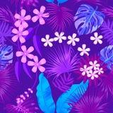 Tropisk sömlös modell för vektor i rosa färger royaltyfri illustrationer