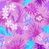 Tropisk sömlös modell för vektor i rosa färger stock illustrationer