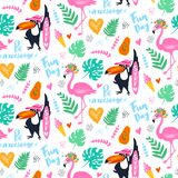 Tropisk sömlös modell för vektor med den rosa flamingo, tukan, vändkretssidor exotisk bakgrund vektor illustrationer