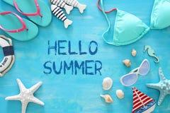Tropisk semester- och sommarloppbild med objekt för havslivstil Top beskådar royaltyfria foton