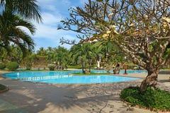 Tropisk semesterort med simbassängen Arkivfoton
