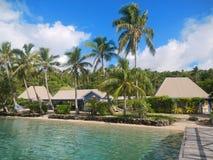 Tropisk semesterort på Nananu-jag-rommar ö, Fiji Arkivfoton