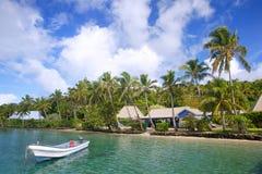 Tropisk semesterort på Nananu-jag-rommar ö, Fiji Arkivbild