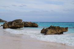 Tropisk shoreline med vaggar Arkivbild