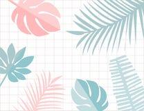 Tropisk sidaram med copyspace För vändkretssommar för pastellfärgade rosa färger och blåttbakgrund Monstera och blad vektor illustrationer