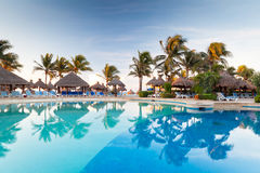 Tropisk simbassäng på soluppgången Arkivbilder