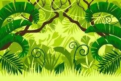 Tropisk skogliggande lövverk stock illustrationer