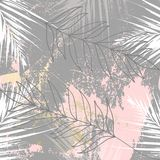 Tropisk sliten blom- pastell steg den guld- modellen för den gråa rodnaden stock illustrationer