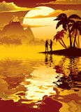 Tropisk solnedgång med vulkan Royaltyfri Foto