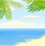Tropisk sommarbakgrund med havet, palmblad och stranden Royaltyfri Bild