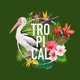 Tropisk sommardesign med pelikanfågeln och exotiska blommor Waterbird med vändkretsväxter och palmblad för T-tröja Arkivbild