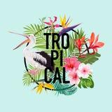 Tropisk sommardesign med pelikanfågeln och exotiska blommor Waterbird med vändkretsväxter och palmblad för T-tröja Royaltyfri Foto