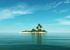 Tropisk strand för tropisk ö, havskust med palmträd Arkivbilder