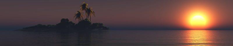Tropisk strand för tropisk ö, havskust med palmträd Royaltyfri Foto