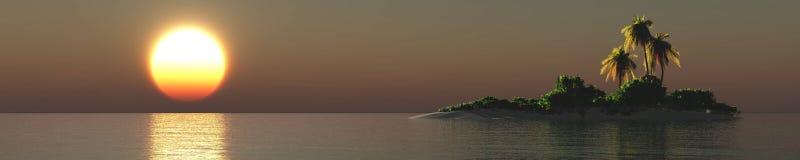 Tropisk strand för tropisk ö, havskust med palmträd Royaltyfri Bild