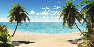 Tropisk strand, havskust med palmträd Arkivbild
