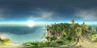 Tropisk strand, havskust med palmträd Royaltyfri Fotografi