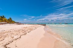 Tropisk strand i Isla Mujeres, Mexico Royaltyfri Bild