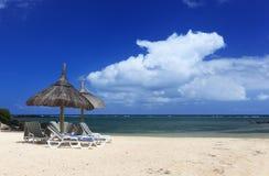 Tropisk strand i Mauritius Royaltyfria Foton