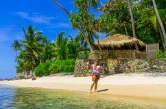 Tropisk strand i Sri Lanka Fotografering för Bildbyråer