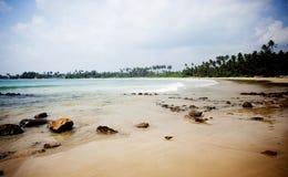 Tropisk strand i Sri Lanka Royaltyfria Bilder