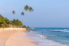 Tropisk strand i Sri Lanka på solnedgången Arkivbild