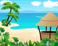 Tropisk strand med coctailstången Arkivbilder