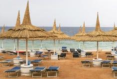 Tropisk strand med deckchairs och paraplyer Arkivbild