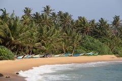 Tropisk strand med exotiska palmträd och träfartyg på sanden Royaltyfri Fotografi