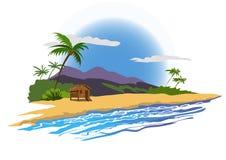 Tropisk strand med huset Fotografering för Bildbyråer