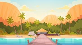 Tropisk strand med landskapet för vattenbungalowhus, begrepp för sommarloppsemester stock illustrationer