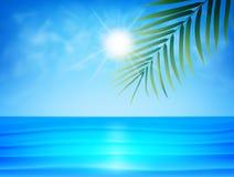 Tropisk strand med palmbladet, smoothavvatten, moln och solen Exotisk bakgrund för sommar stock illustrationer