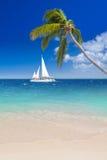 Tropisk strand med segelbåten Royaltyfri Bild