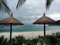 Tropisk strand med stolar och paraplyer royaltyfri fotografi