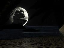 Tropisk strand på nattmånsken, med segelbåten Arkivfoton