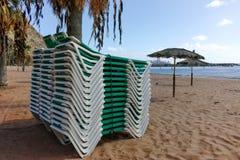 Tropisk strand Teresitas, Tenerife, kanariefågelöar i vinter Fotografering för Bildbyråer